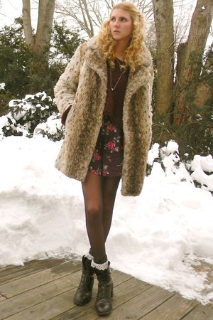 thrifted boots - faux fur thrifted vintage coat - thrifted sweater - gift socks