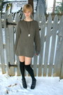 Charcoal-gray-knit-thrifted-sweater-black-over-the-knee-forever-21-socks-bla