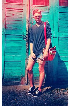 black H&M shoes - red Converse bag - sky blue Esprit shorts - gray Glow blouse