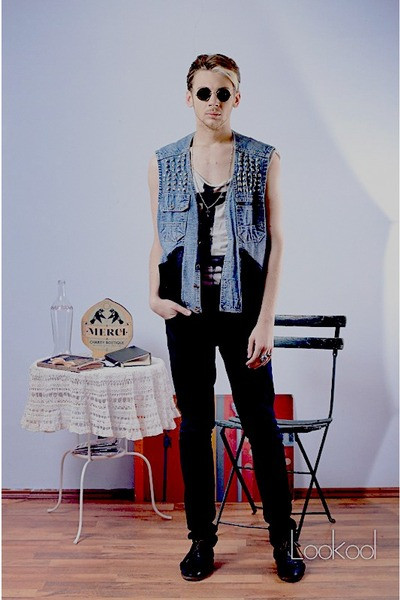 sky blue hand-made vest - black Zara shoes - black H&M jeans