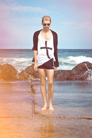 black New Yorker sunglasses - white H&M shirt - black Adidas swimwear