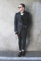 black H&M shoes - black Zara coat - black H&M pants - off white c&a blouse