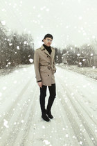 black H&M boots - dark khaki coat - black H&M jeans - black H&M hat