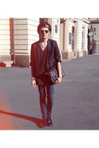 black Zara boots - black Topman blazer - dark brown Topman bag
