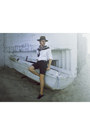 Brown-new-yorker-hat-off-white-h-m-shirt-bronze-scarf-black-h-m-shorts
