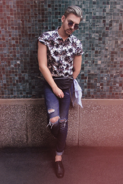 black H&M shoes - navy H&M jeans - charcoal gray H&M shirt