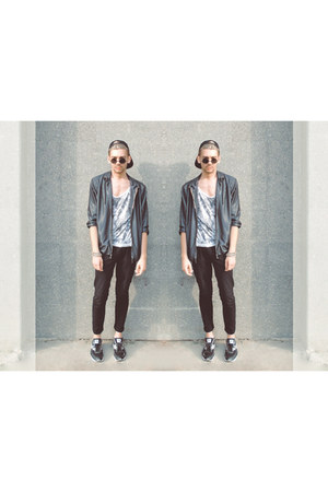 silver Zara jacket - black H&M hat - silver shirt - black New Yorker sunglasses
