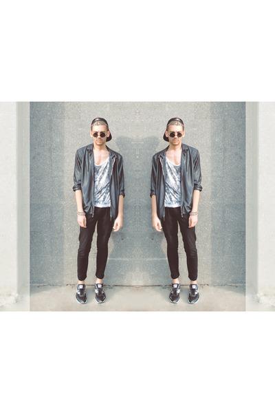 silver Zara jacket - black H&M hat - silver shirt - black New Yorker sunglasses