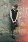 Black-zara-shoes-charcoal-gray-zara-jeans-bronze-new-yorker-hat