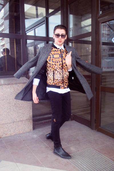 carrot orange Zara jacket - black Zara boots - charcoal gray H&M coat