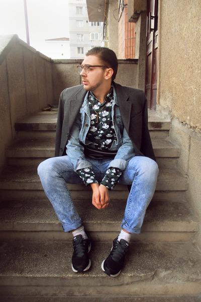 gray H&M coat - turquoise blue Zara jeans - turquoise blue Zara jacket