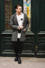 Black-mai-boots-heather-gray-house-of-art-coat-off-white-vintage-shirt
