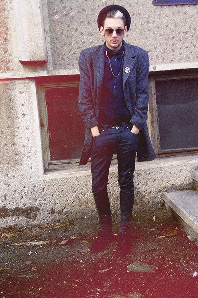 navy H&M shirt - black Zara shoes - gray House of art coat - dark gray H&M pants