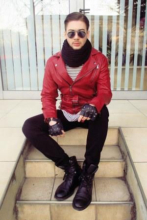 ruby red Zara jacket - black H&M pants - black H&M top
