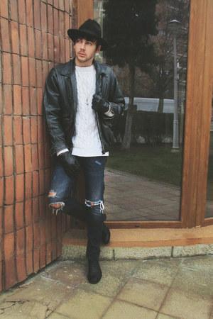 black H&M shoes - navy H&M jeans - black H&M hat - white H&M top