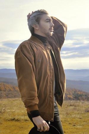 black H&M jeans - black H&M hat - burnt orange Lacoste jacket - black H&M blouse