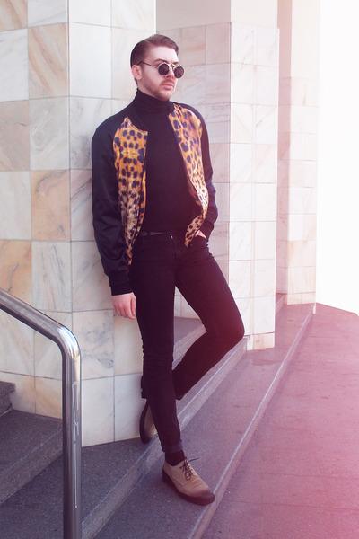 black H&M pants - dark khaki Diesel shoes - carrot orange Zara jacket
