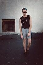 black Zara shoes - black FeMale shirt - heather gray FeMale shorts