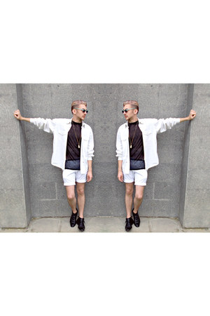black Zara boots - white H&M jacket - black FeMale shirt - white H&M shorts