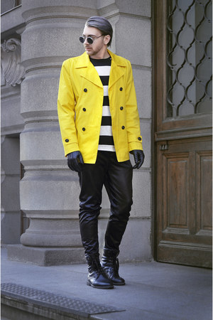 black H&M boots - yellow Zara coat - black H&M shirt - black Zara pants