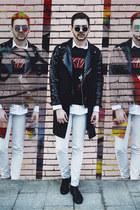 white H&M shirt - black Kiss shirt - black H&M shoes - black Zara jacket