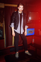 black H&M jacket - dark khaki Diesel shoes - black Zara shirt - black H&M pants