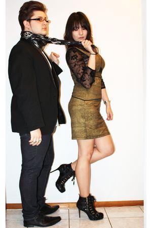 black Dollhouse boots - gold Shakuhachi dress - black vintage top