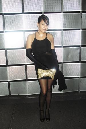 black Tokito dress - black Kleins gloves - black Avant tights - gold globalize p