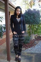 brown made by me pants - black assymetrical Tokito blazer