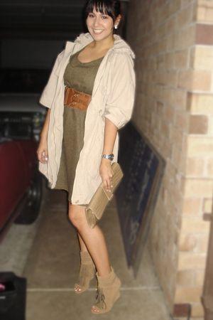 brown dress - brown coat - brown shoes - brown H&M belt - brown purse
