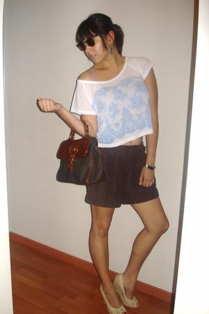 white Miss Shop t-shirt - brown H&M shorts - blue vintage purse - beige Hot Opti