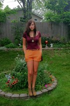 carrot orange Forever 21 shorts - light brown wedged sonoma boots