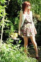 brown charity shop shoes - white charity shop jacket - pink charity shop dress