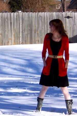 black Ruby Rox dress - red New York & Company cardigan - beige vintage belt - wh