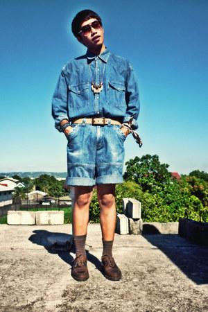 denim Levis shirt - denim thrifted shorts