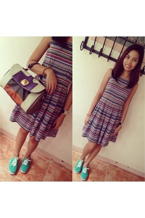 purple Celine bag - Jellybean dress - aquamarine Keds sneakers
