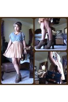 neutral chiffon skirt - light brown suede boots