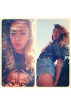 heather gray wolf vintage shirt - high-waisted Levis shorts