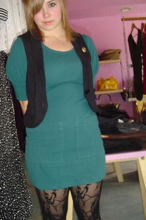 green thrifted KBrower dress - black Cest Moi tights - black alternative apparel