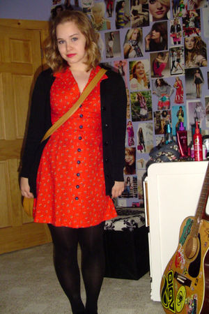 red dress - brown purse - black cardigan