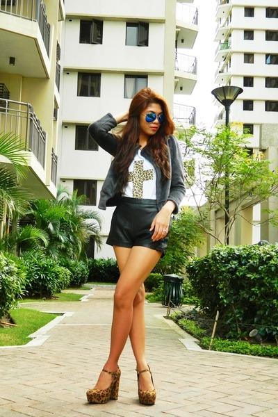 black leather romwe shorts
