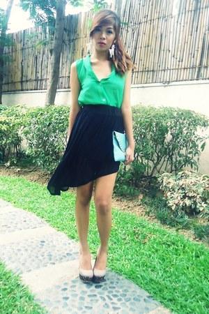 black mullet SM-GTW skirt - green South Sartorial top