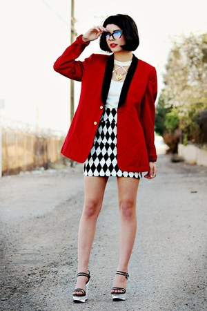 red menswear thrifted blazer - black cat eye zeroUV sunglasses