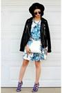Blue-floral-missguided-dress-black-felt-forever-21-hat