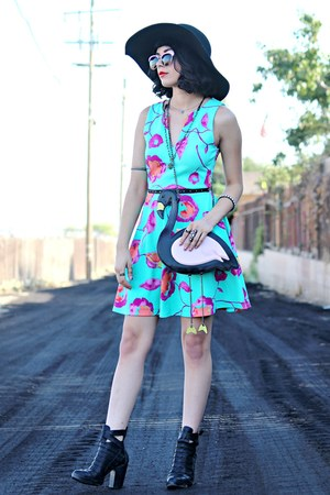 black leather Forever 21 boots - aquamarine floral shop pink blush dress