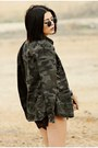 Forest-green-romwe-coat-silver-plastic-romwe-purse-black-lace-romwe-shorts