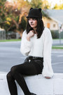 Black-platforms-tuk-boots-black-felt-romwe-hat-white-fuzzy-tobi-sweater
