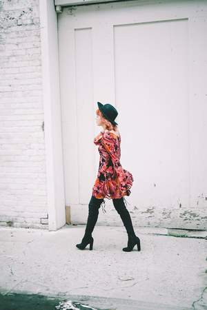 black faux suede boots - maroon velvet dress - black felt hat