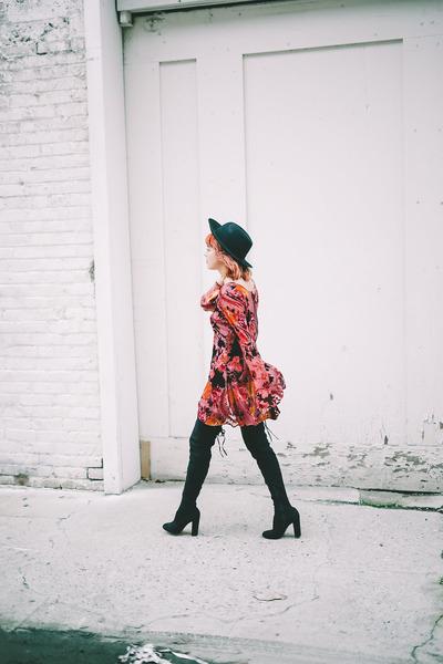 black faux suede boots - maroon velvet dress - black felt hat