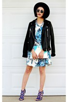 blue floral Missguided dress - black felt Forever 21 hat